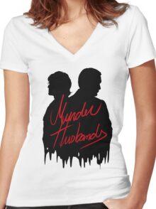 Murder Husbands [Black/Red] Women's Fitted V-Neck T-Shirt