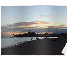 Sunset over Honolulu Poster