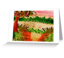 Broken Fence ad Open Pasture, aatercolor Greeting Card