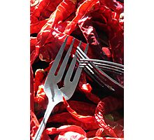 Dried Peppers and Forks Photographic Print