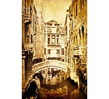 Venice Canal in Sepia 1968 Photographic Print