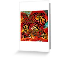 Country Rose Lino Block Print Greeting Card