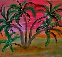 Many palm trees, watercolor by Anna  Lewis