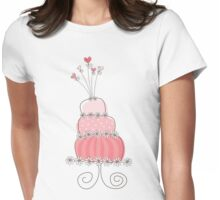 Sweet Pink Whimsical Wedding Cake Womens Fitted T-Shirt