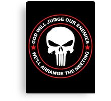 god will judge our enemies we'll arrange the meeting - red Canvas Print
