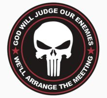 god will judge our enemies we'll arrange the meeting - red One Piece - Short Sleeve