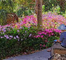 Two Ladies On a Bench (inspired by Monet) by AuntDot