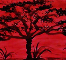 Africa Series, Tall tree, watercolor by Anna  Lewis
