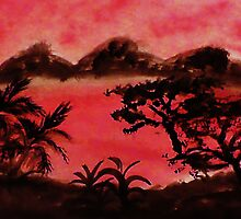 Afirca  Series, trees foiliage and mountains , watercolor by Anna  Lewis