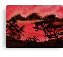 Afirca  Series, trees foiliage and mountains , watercolor Canvas Print