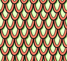 Dragon Scales Pattern (Orange/Apple Green) by 5tessential