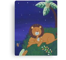 Painted Lion with Cub (Night Scene) Canvas Print