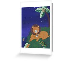 Painted Lion with Cub (Night Scene) Greeting Card