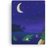 Alligator Chasing Firefly (Jungle Nursery) Canvas Print