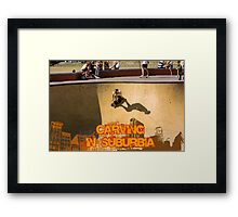 Skateboarding In Suburbia Framed Print