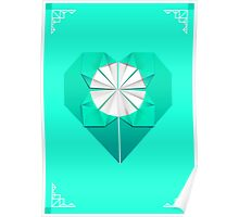 Turquoise Origami Heart Poster