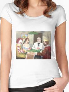 Commercial poker and pizza Women's Fitted Scoop T-Shirt