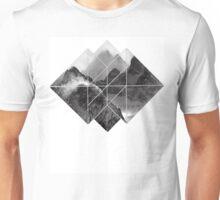 black and white mountain logo Unisex T-Shirt