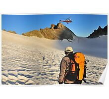 helicopter and mountain refuge Poster