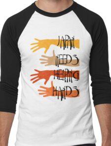 Japan needs helping hands Men's Baseball ¾ T-Shirt
