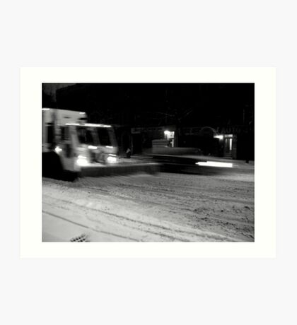 NYC Snowplow at Night Art Print