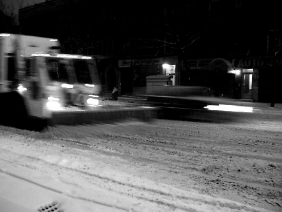 NYC Snowplow at Night by robblerobble
