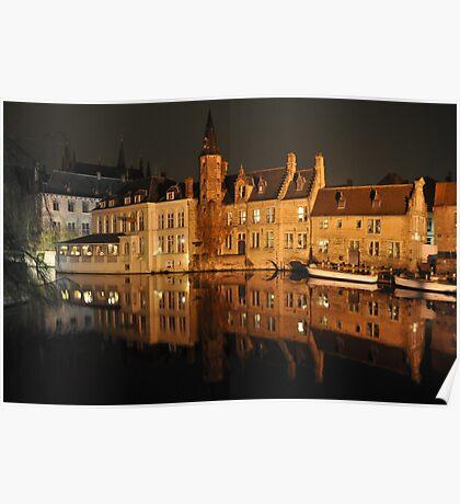 Bruges Terreced Reflection Poster