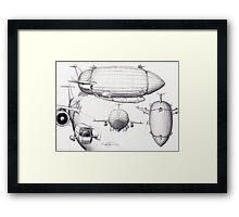 Diagram of a Zeppelin made from Spare Parts Framed Print