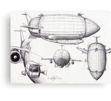 Diagram of a Zeppelin made from Spare Parts Canvas Print