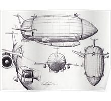 Diagram of a Zeppelin made from Spare Parts Poster