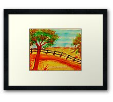 Old  Fence by the Road, watercolor Framed Print