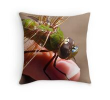 Dragonfly on finger Throw Pillow