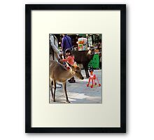 Little girl and toy – Nara, Japan Framed Print