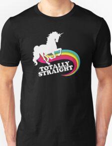 Totally Straight Funny Rainbow Unicorn Gay Pride Novelty Fashion T-Shirt