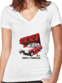 Aregato Taxi  Women's Fitted V-Neck T-Shirt