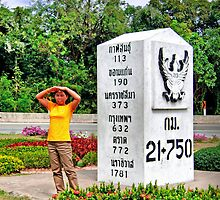 The Largest Milestone or Kilometer Marker of Thailand by Horst Dammer