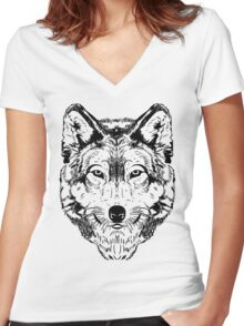Wolf Black 2 Women's Fitted V-Neck T-Shirt
