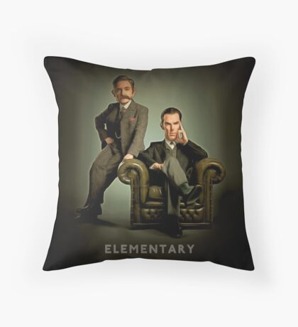 19th Century Sherlock and Watson Throw Pillow