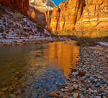 Zion Big Bend Reflection by photosbyflood