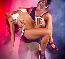 'Thru the flames our NT hero rescues the babe, AND the beer! by Mark Hamilton