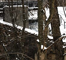 Old water-mill in winter time by Antanas
