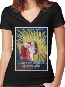 Leonetto Cappiello Affiche Nitrate Le Gaulois Women's Fitted V-Neck T-Shirt