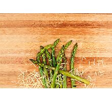 Grilled asparagus and parmesan cheese. Photographic Print