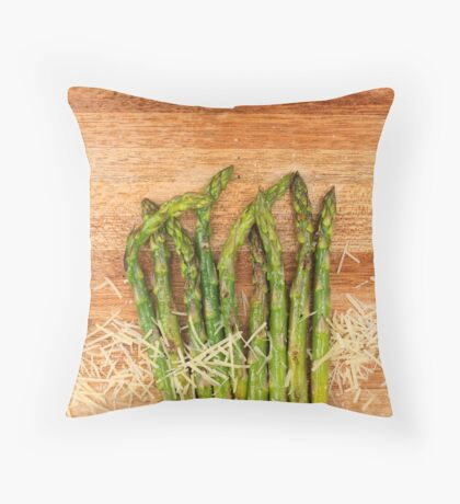 Grilled asparagus and parmesan cheese Throw Pillow