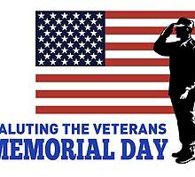 Soldier Serviceman Saluting American Flag by patrimonio