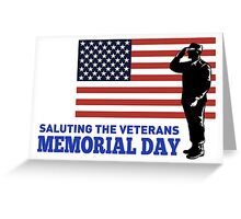 Soldier Serviceman Saluting American Flag Greeting Card