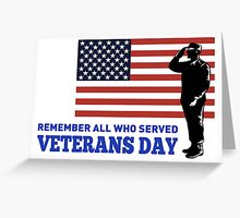 American soldier saluting flag  Greeting Card