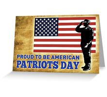 American soldier saluting flag Patriot day Greeting Card