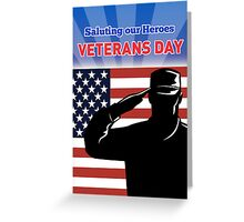 American soldier saluting flag Veterans  Day card Greeting Card
