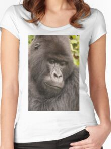 Close-up of silverback looking down in forest Women's Fitted Scoop T-Shirt